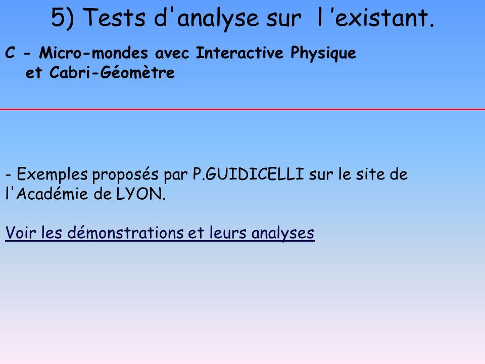 5) Tests d'analyse sur l existant. C - Micro-mondes avec Interactive Physique et Cabri-Géomètre - Exemples proposés par P.GUIDICELLI sur le site de l'
