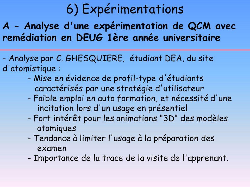 6) Expérimentations A - Analyse d'une expérimentation de QCM avec remédiation en DEUG 1ère année universitaire - Analyse par C. GHESQUIERE, étudiant D