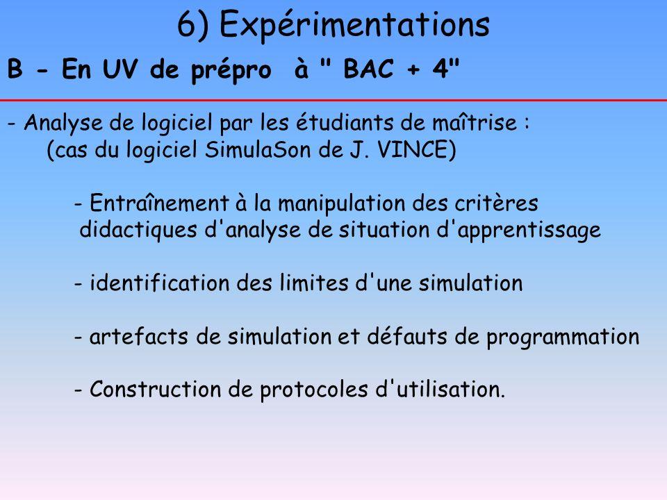 6) Expérimentations B - En UV de prépro à