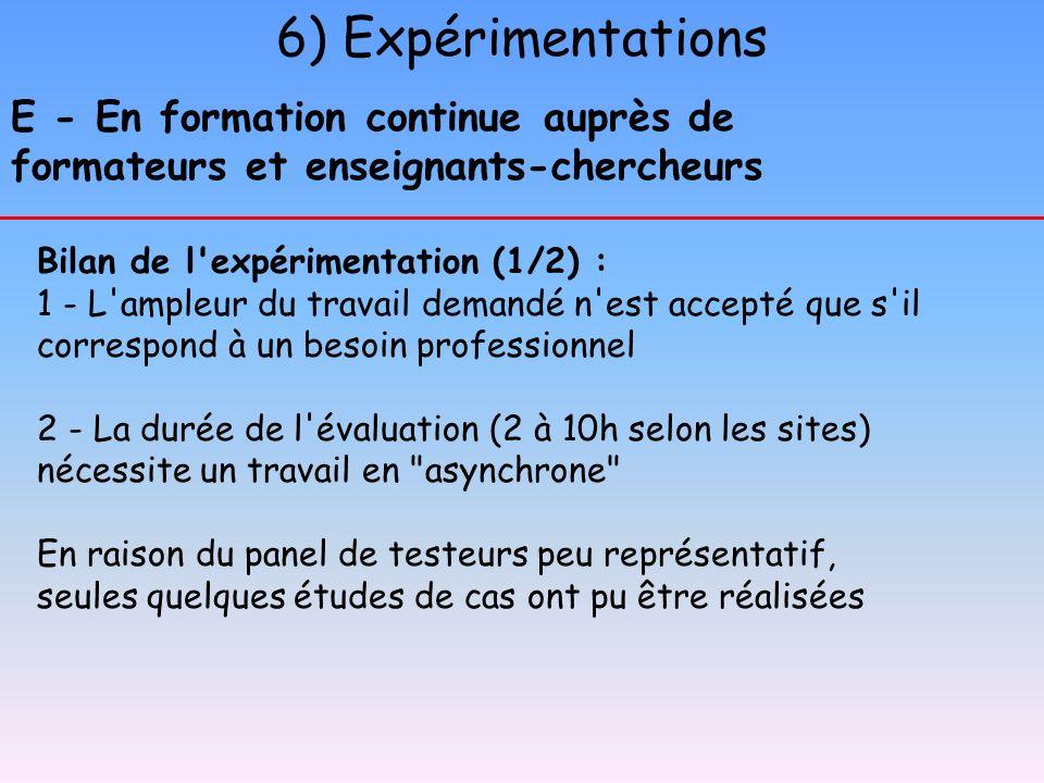 6) Expérimentations E - En formation continue auprès de formateurs et enseignants-chercheurs Bilan de l'expérimentation (1/2) : 1 - L'ampleur du trava