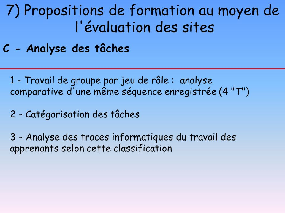 7) Propositions de formation au moyen de l'évaluation des sites C - Analyse des tâches 1 - Travail de groupe par jeu de rôle : analyse comparative d'u