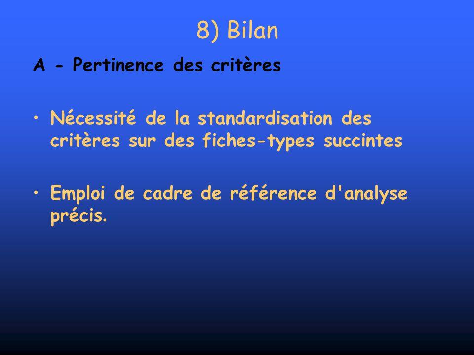 A - Pertinence des critères Nécessité de la standardisation des critères sur des fiches-types succintes Emploi de cadre de référence d'analyse précis.