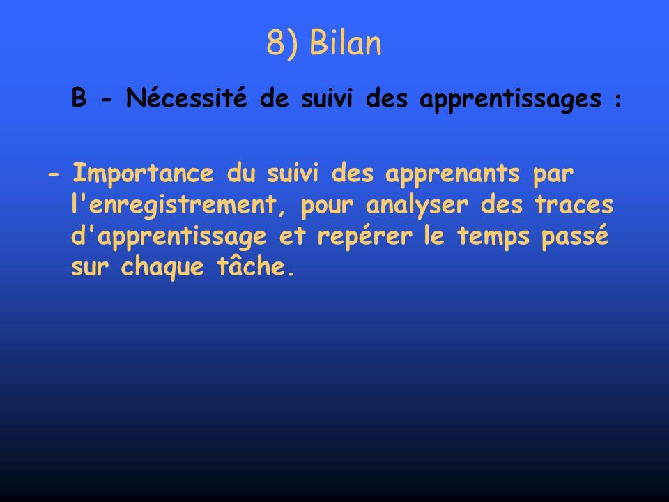 8) Bilan B - Nécessité de suivi des apprentissages : - Importance du suivi des apprenants par l'enregistrement, pour analyser des traces d'apprentissa