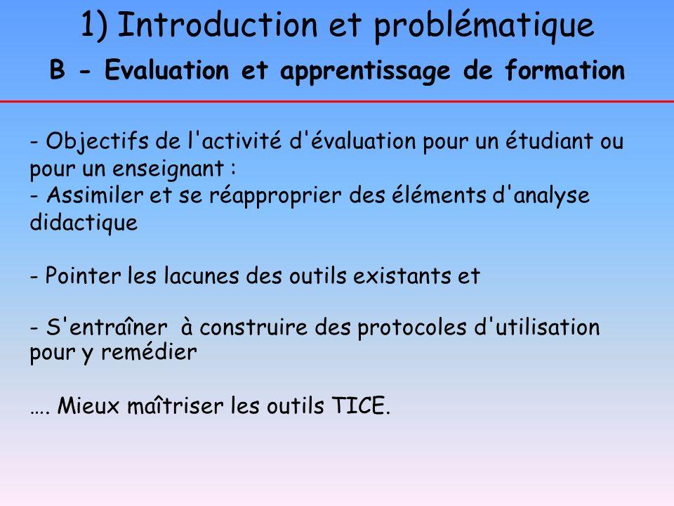 1) Introduction et problématique B - Evaluation et apprentissage de formation - Objectifs de l'activité d'évaluation pour un étudiant ou pour un ensei