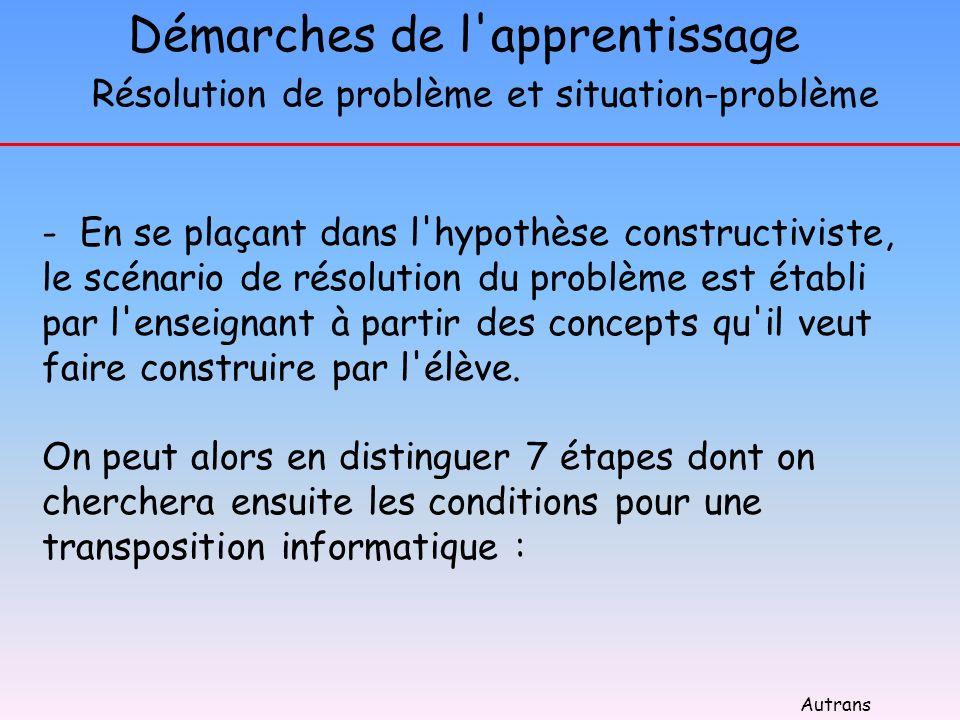 Démarches de l'apprentissage - En se plaçant dans l'hypothèse constructiviste, le scénario de résolution du problème est établi par l'enseignant à par