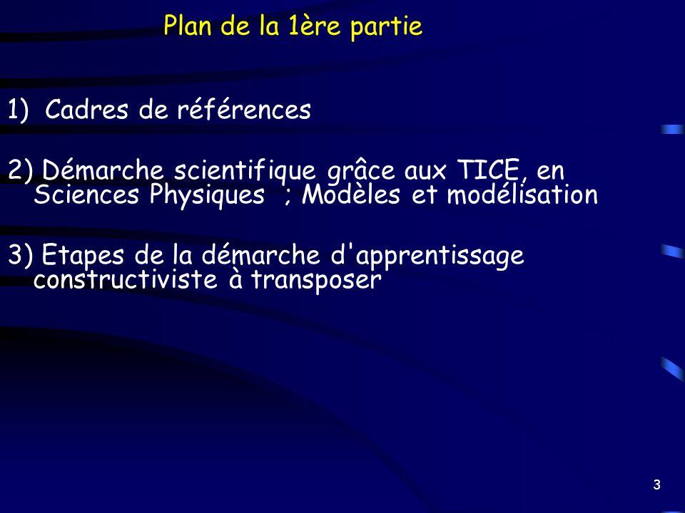 3 1) Cadres de références 2) Démarche scientifique grâce aux TICE, en Sciences Physiques ; Modèles et modélisation 3) Etapes de la démarche d'apprenti