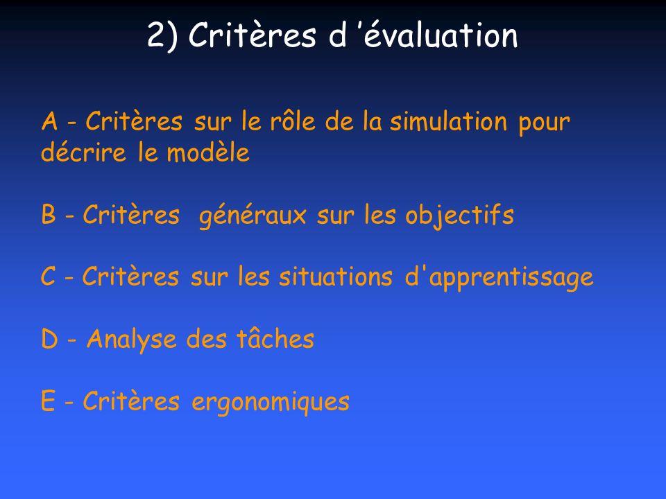 A - Critères sur le rôle de la simulation pour décrire le modèle B - Critères généraux sur les objectifs C - Critères sur les situations d'apprentissa