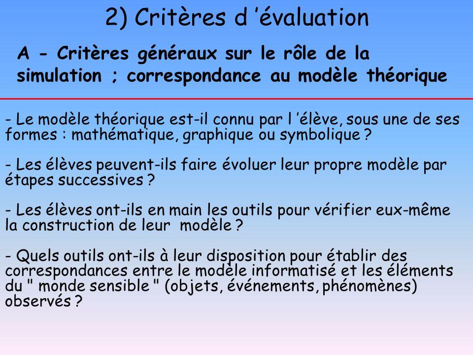 A - Critères généraux sur le rôle de la simulation ; correspondance au modèle théorique - Le modèle théorique est-il connu par l élève, sous une de se