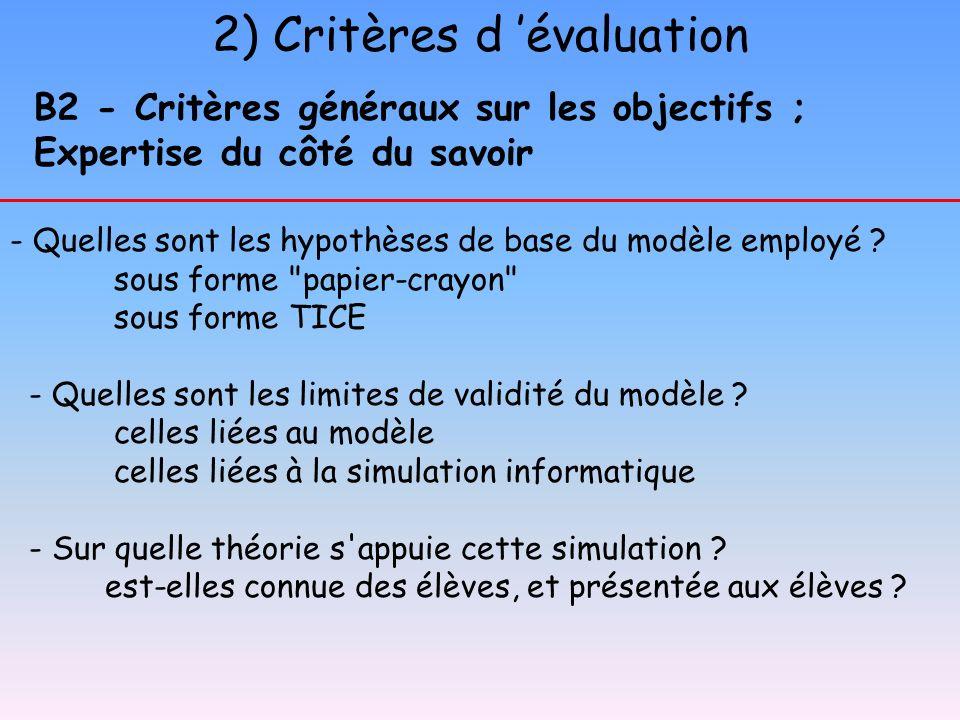 2) Critères d évaluation B2 - Critères généraux sur les objectifs ; Expertise du côté du savoir - Quelles sont les hypothèses de base du modèle employ