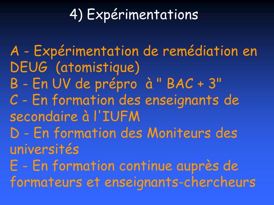 A - Expérimentation de remédiation en DEUG (atomistique) B - En UV de prépro à