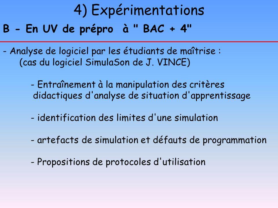 4) Expérimentations B - En UV de prépro à