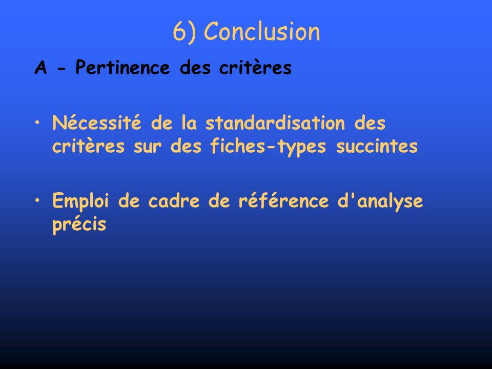 6) Conclusion A - Pertinence des critères Nécessité de la standardisation des critères sur des fiches-types succintes Emploi de cadre de référence d'a
