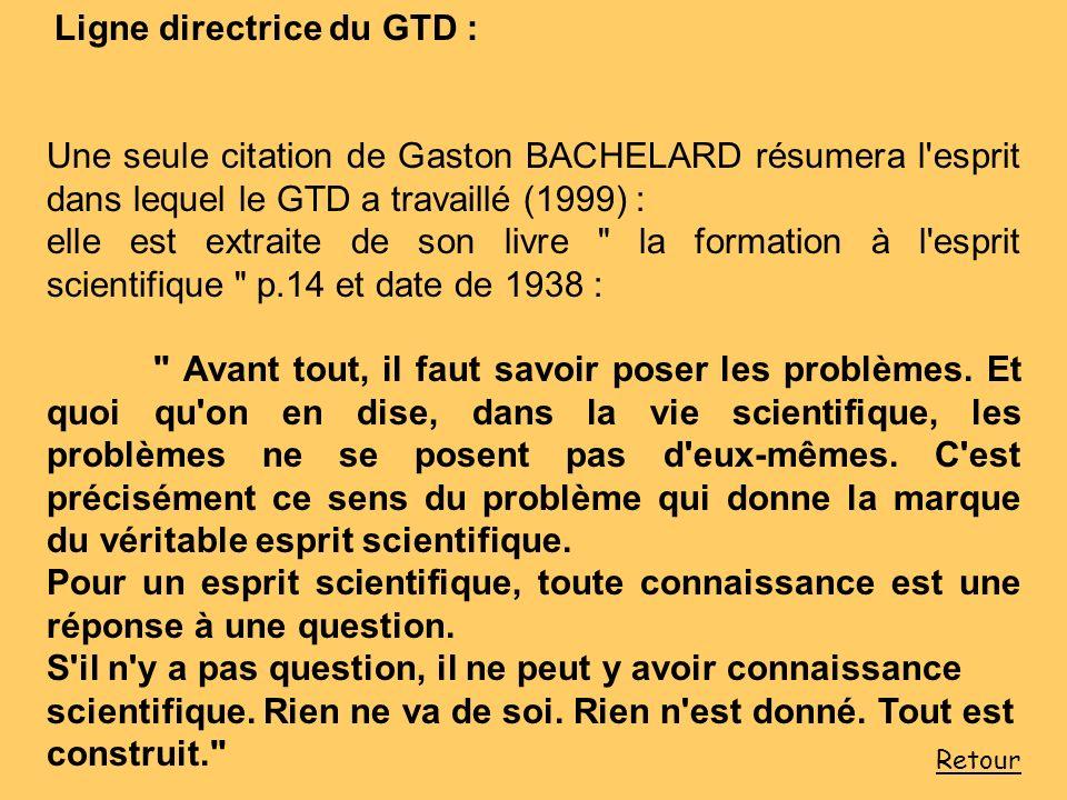 Ligne directrice du GTD : Une seule citation de Gaston BACHELARD résumera l'esprit dans lequel le GTD a travaillé (1999) : elle est extraite de son li