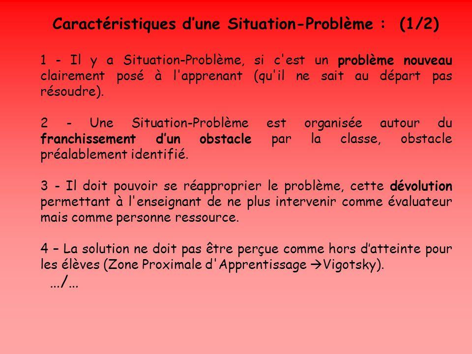 Caractéristiques dune Situation-Problème : (1/2) 1 - Il y a Situation-Problème, si c'est un problème nouveau clairement posé à l'apprenant (qu'il ne s