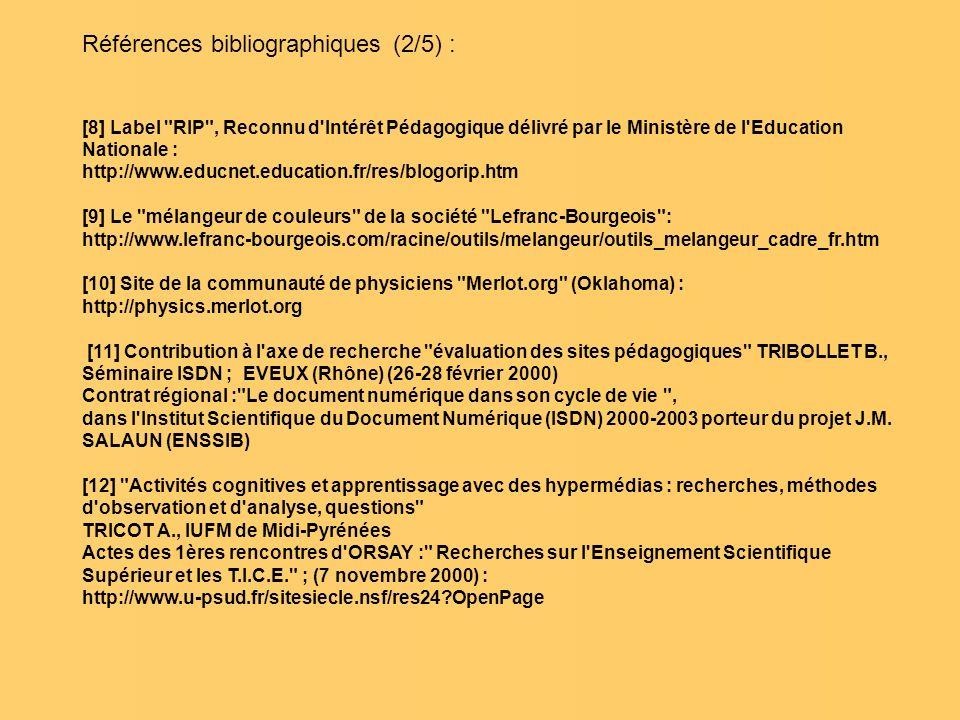 Références bibliographiques (2/5) : [8] Label