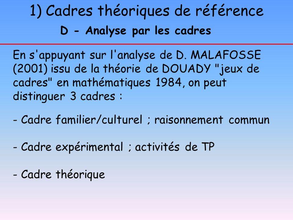 1) Cadres théoriques de référence En s'appuyant sur l'analyse de D. MALAFOSSE (2001) issu de la théorie de DOUADY