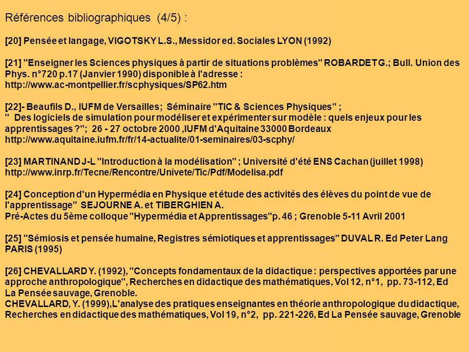 Références bibliographiques (4/5) : [20] Pensée et langage, VIGOTSKY L.S., Messidor ed. Sociales LYON (1992) [21]