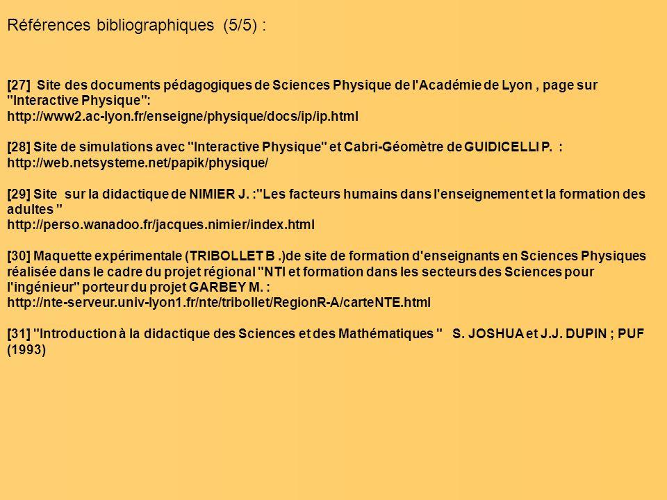 Références bibliographiques (5/5) : [27] Site des documents pédagogiques de Sciences Physique de l'Académie de Lyon, page sur