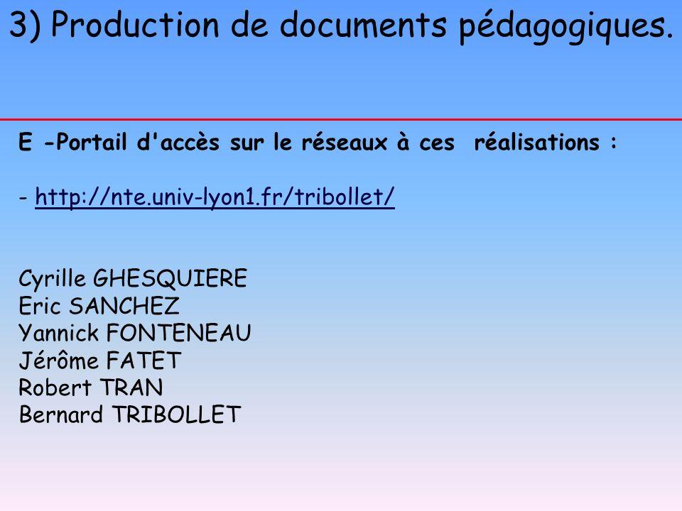 3) Production de documents pédagogiques. E -Portail d'accès sur le réseaux à ces réalisations : - http://nte.univ-lyon1.fr/tribollet/http://nte.univ-l