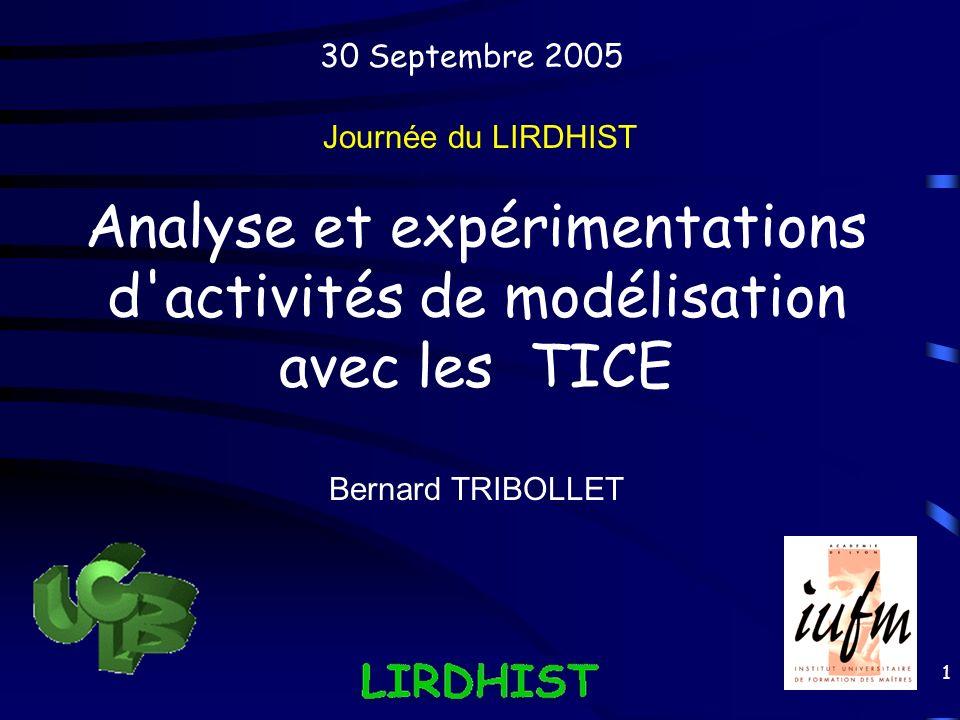 1 Analyse et expérimentations d'activités de modélisation avec les TICE Journée du LIRDHIST Bernard TRIBOLLET 30 Septembre 2005