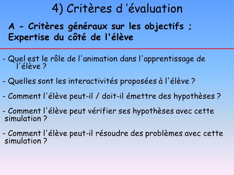 4) Critères d évaluation A - Critères généraux sur les objectifs ; Expertise du côté de l'élève - Quel est le rôle de l'animation dans l'apprentissage