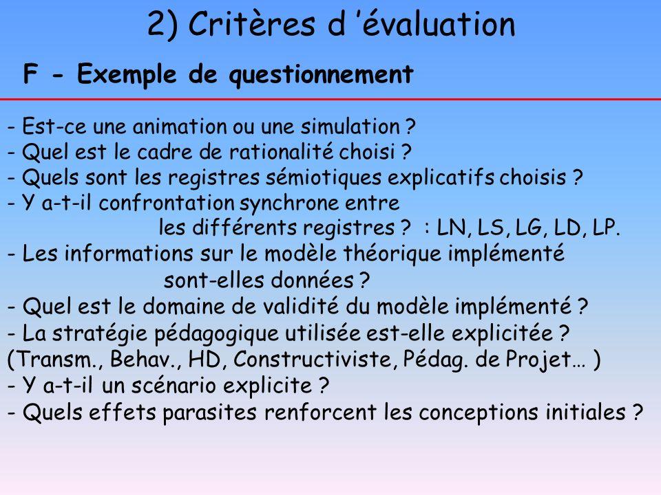 2) Critères d évaluation F - Exemple de questionnement - Est-ce une animation ou une simulation ? - Quel est le cadre de rationalité choisi ? - Quels
