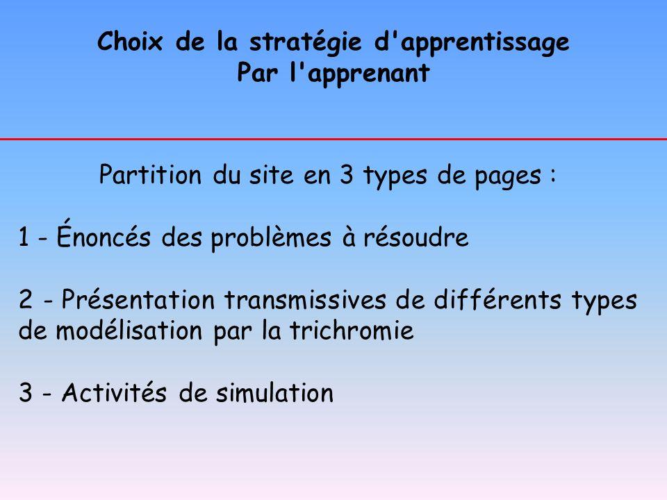 Choix de la stratégie d'apprentissage Par l'apprenant Partition du site en 3 types de pages : 1 - Énoncés des problèmes à résoudre 2 - Présentation tr