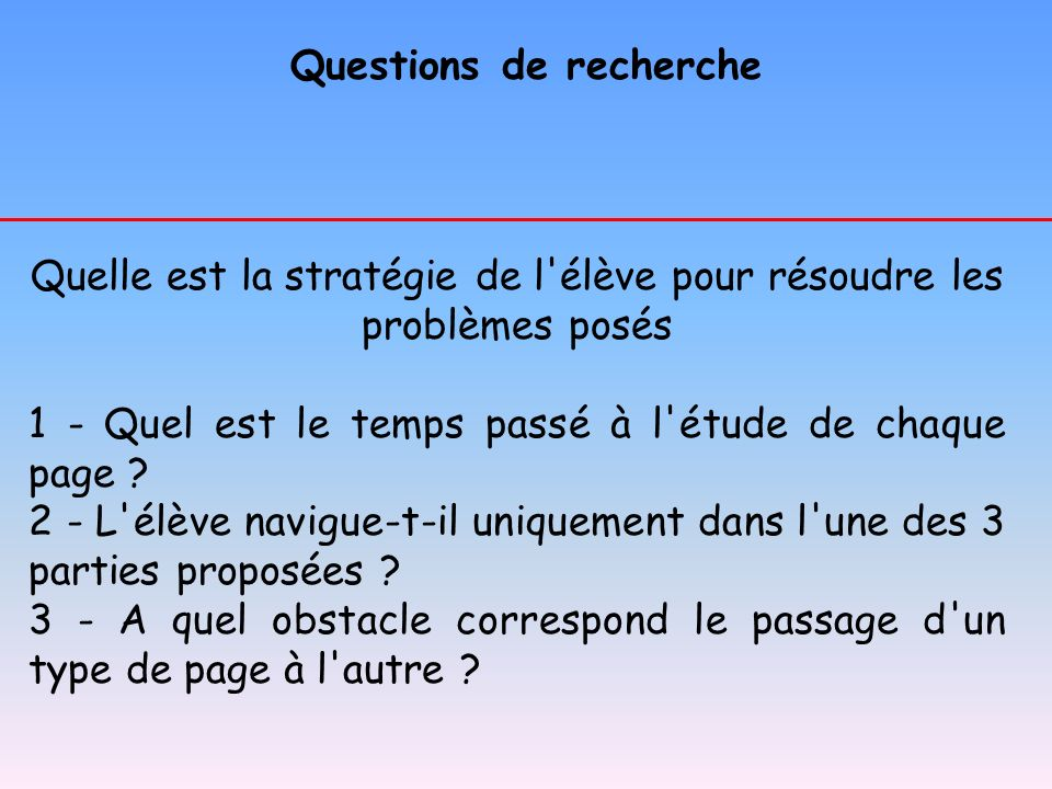 Questions de recherche Quelle est la stratégie de l'élève pour résoudre les problèmes posés 1 - Quel est le temps passé à l'étude de chaque page ? 2 -