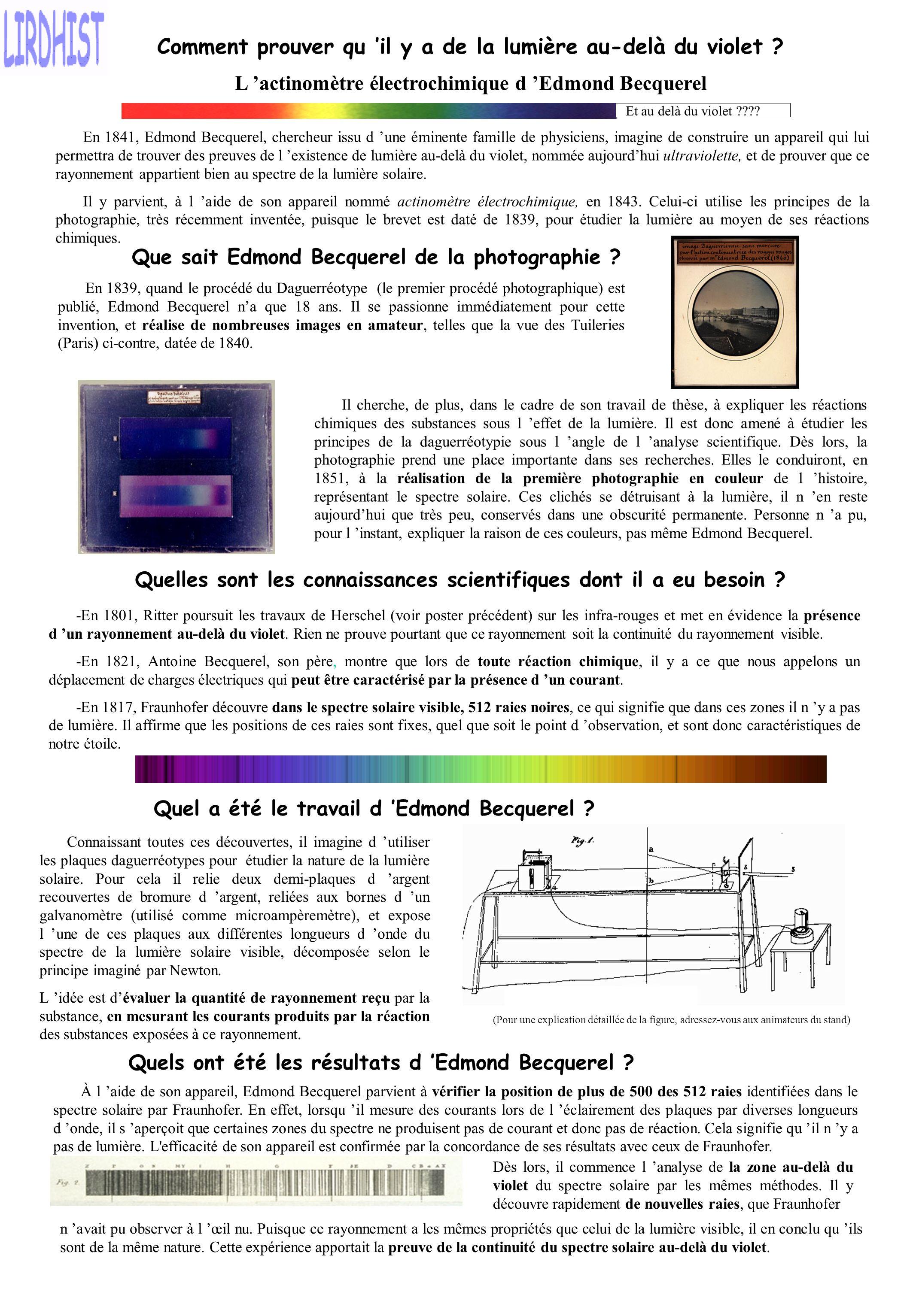 Comment prouver qu il y a de la lumière au-delà du violet ? En 1841, Edmond Becquerel, chercheur issu d une éminente famille de physiciens, imagine de