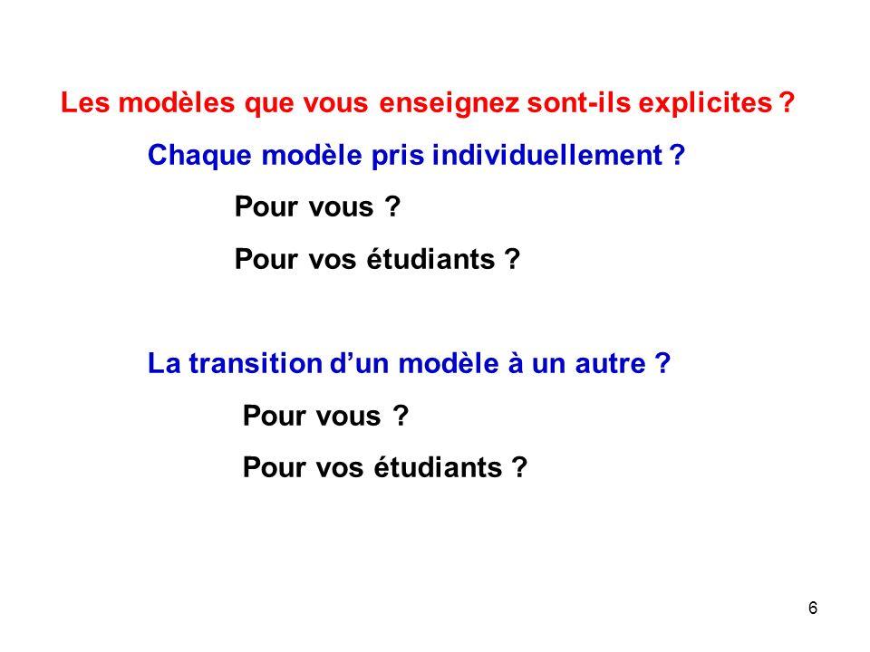 6 Les modèles que vous enseignez sont-ils explicites .