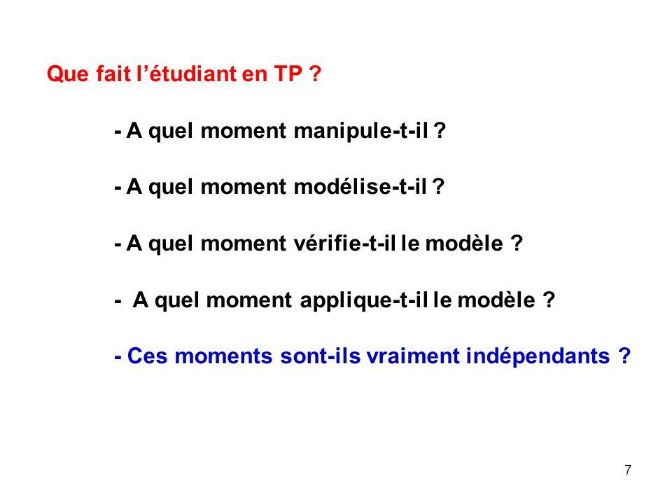 8 Pour les Étudiants et les stagiaires, la modélisation est : - lécriture dune équation de réaction, -Le traçage dune courbe de titrage, -pH = -logC - La commande « Bouton dun oscillo », - La commande « Touche dun ordinateur »…