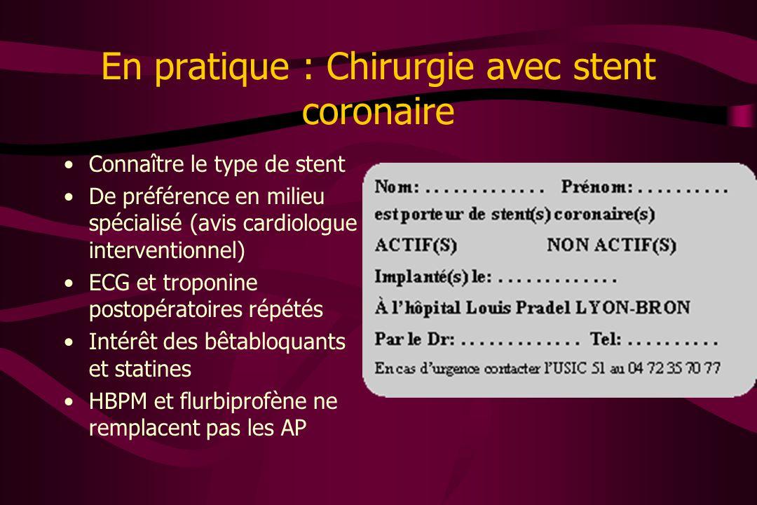 En pratique : Chirurgie avec stent coronaire Connaître le type de stent De préférence en milieu spécialisé (avis cardiologue interventionnel) ECG et t