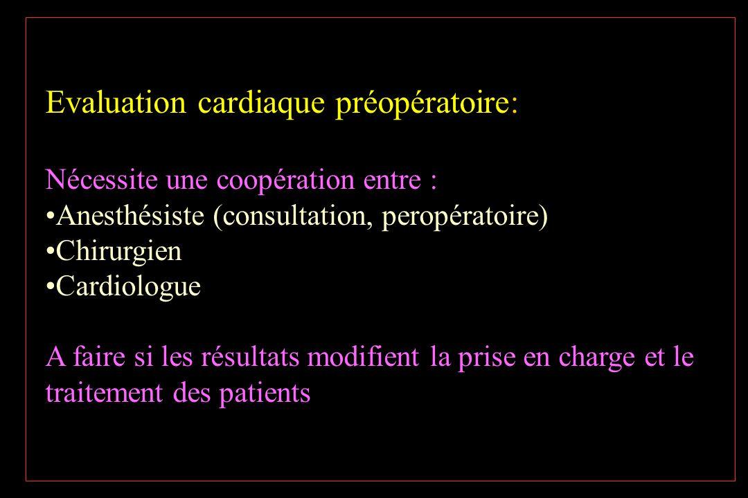 Evaluation cardiaque préopératoire: Nécessite une coopération entre : Anesthésiste (consultation, peropératoire) Chirurgien Cardiologue A faire si les