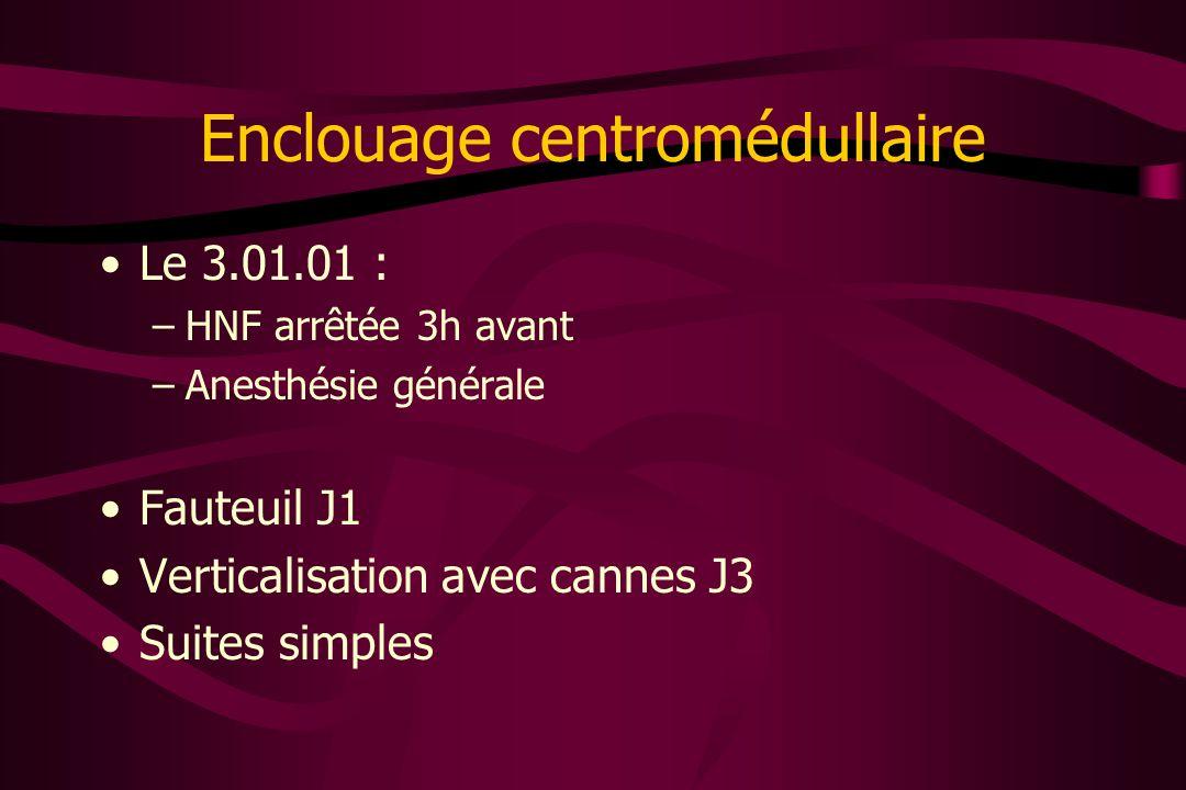 Enclouage centromédullaire Le 3.01.01 : –HNF arrêtée 3h avant –Anesthésie générale Fauteuil J1 Verticalisation avec cannes J3 Suites simples