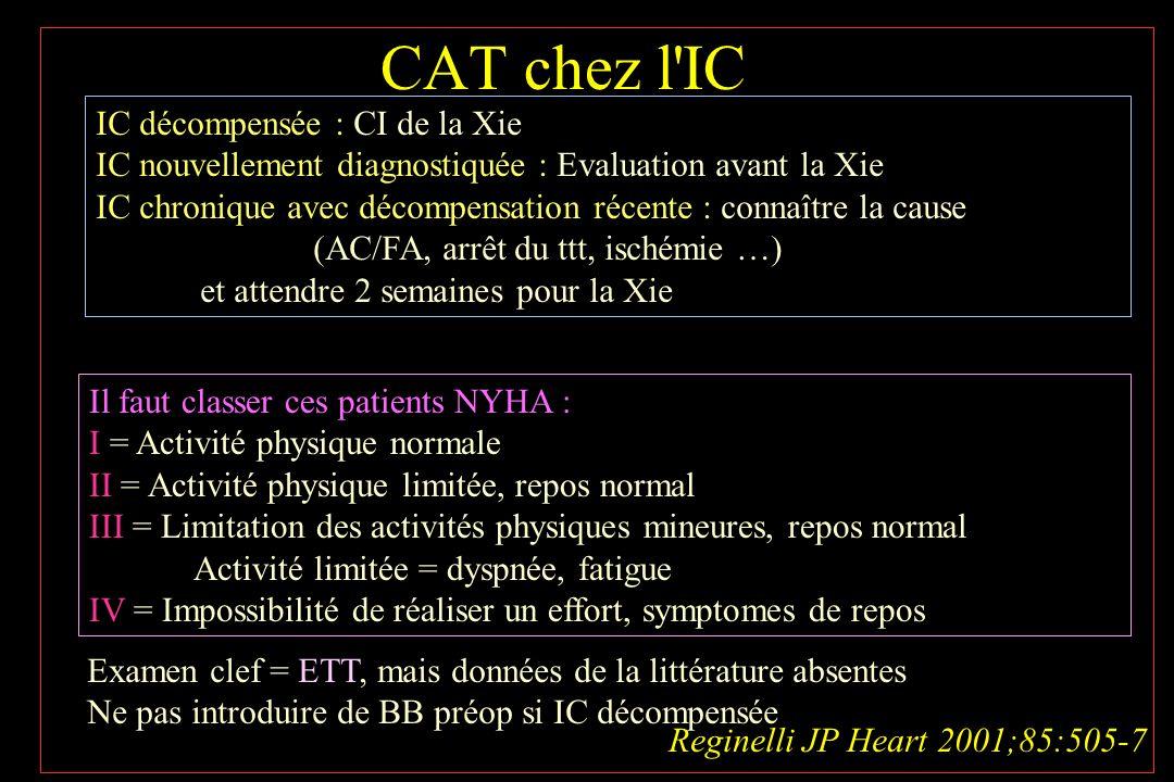 CAT chez l'IC Reginelli JP Heart 2001;85:505-7 IC décompensée : CI de la Xie IC nouvellement diagnostiquée : Evaluation avant la Xie IC chronique avec