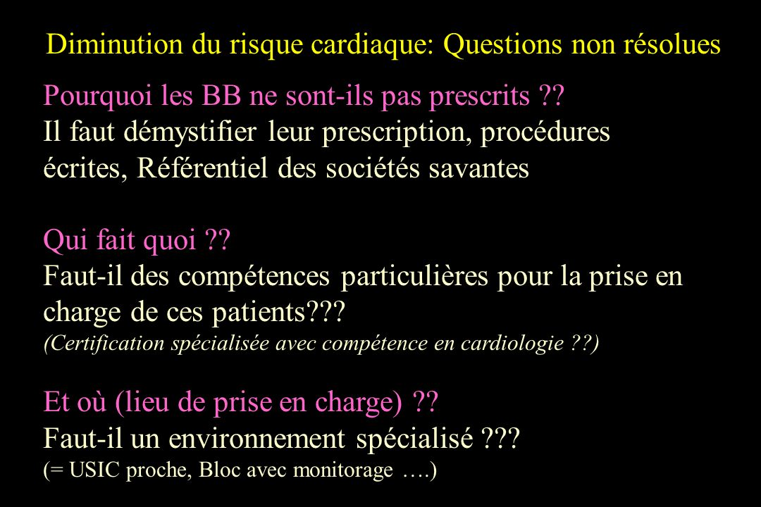 Diminution du risque cardiaque: Questions non résolues Pourquoi les BB ne sont-ils pas prescrits ?? Il faut démystifier leur prescription, procédures