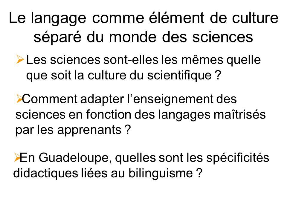 Le langage comme élément de culture séparé du monde des sciences Les sciences sont-elles les mêmes quelle que soit la culture du scientifique .