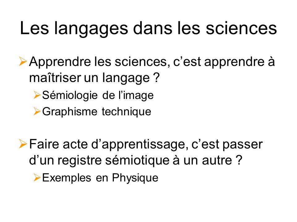Les langages dans les sciences Apprendre les sciences, cest apprendre à maîtriser un langage .