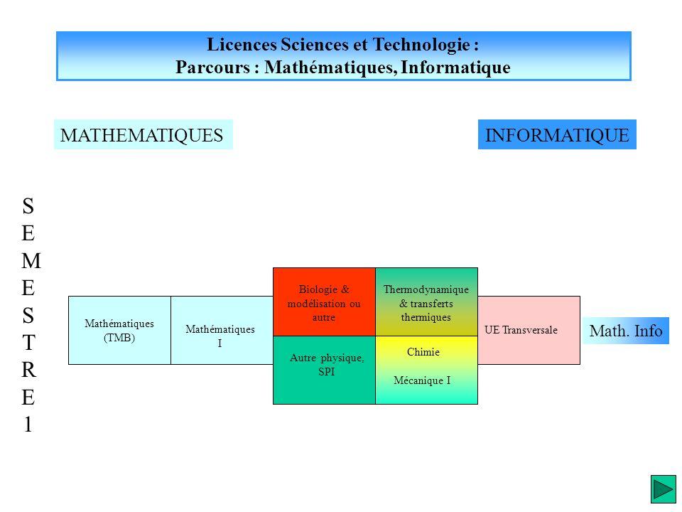 Licences Sciences et Technologie : Parcours : Mathématiques, Informatique INFORMATIQUEMATHEMATIQUES UE Transversale Mathématiques (TMB) Chimie SEMESTR