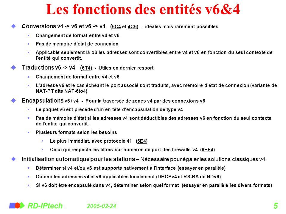 2005-02-24 5 Les fonctions des entités v6&4 Conversions v4 -> v6 et v6 -> v4 ( 6C4 et 4C6) - idéales mais rarement possibles Changement de format entr