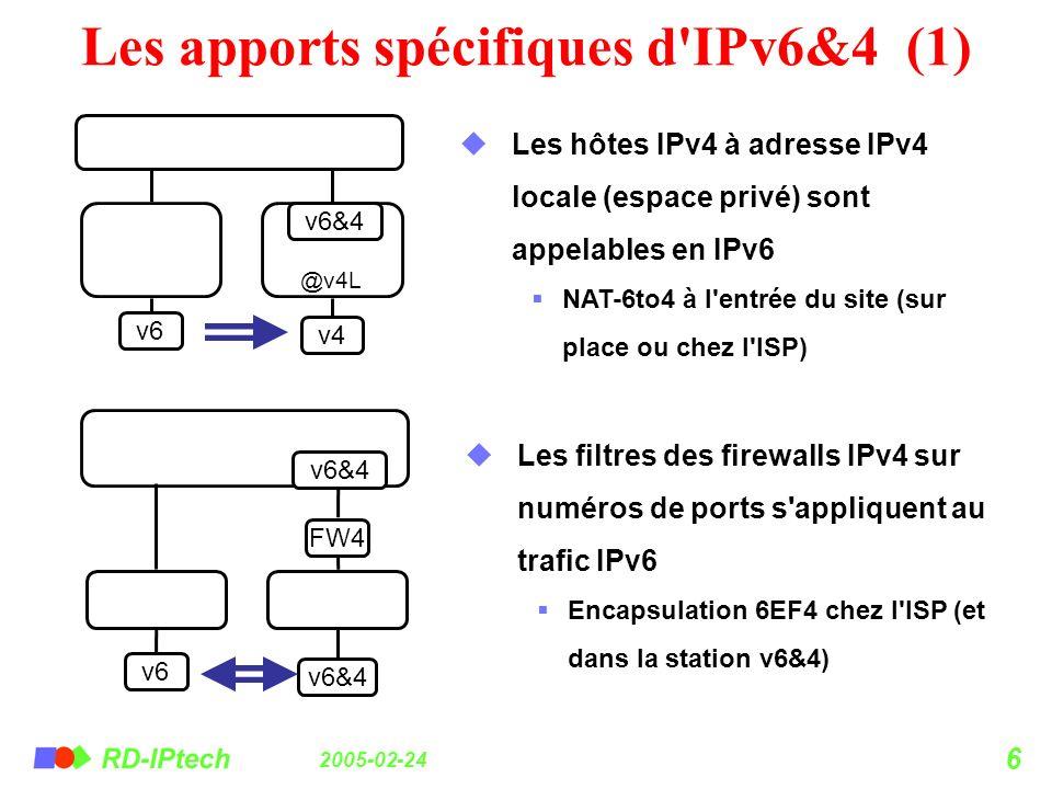 2005-02-24 6 Les apports spécifiques d'IPv6&4 (1) v6 v4 @v4L Les hôtes IPv4 à adresse IPv4 locale (espace privé) sont appelables en IPv6 NAT-6to4 à l'