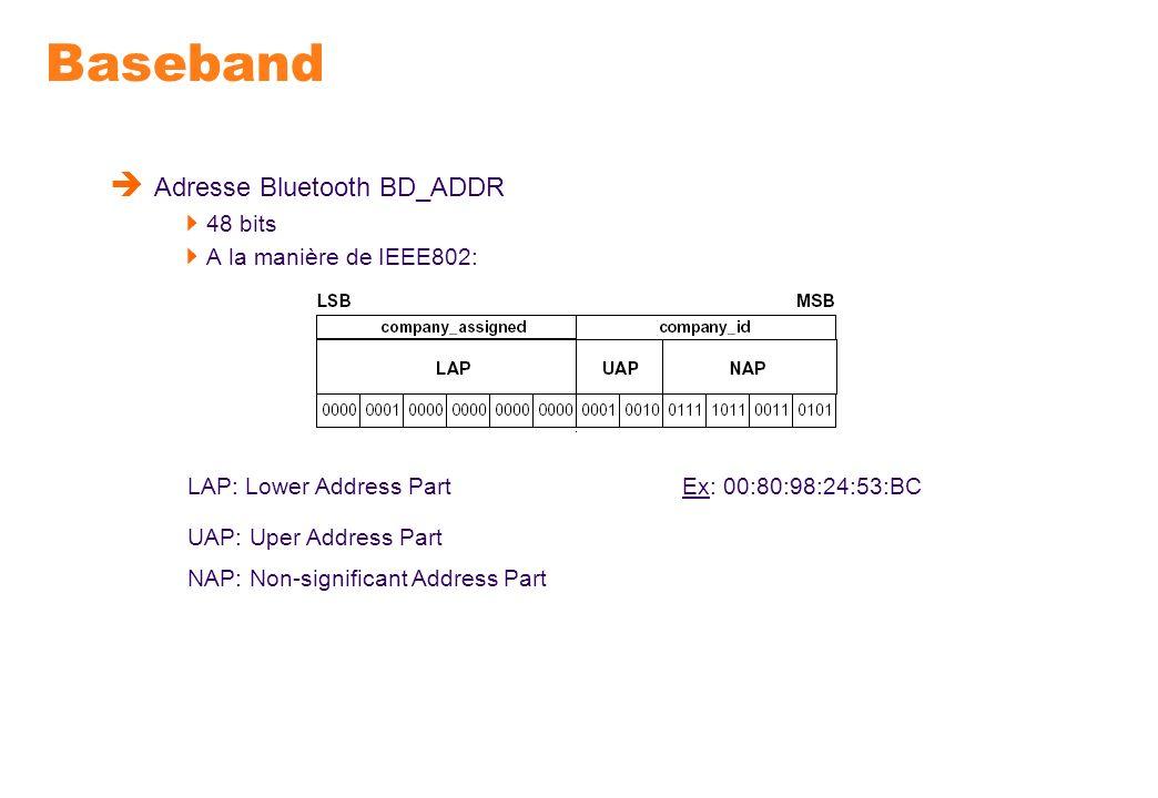 Baseband Adresse Bluetooth BD_ADDR 48 bits A la manière de IEEE802: LAP: Lower Address Part UAP: Uper Address Part NAP: Non-significant Address Part E