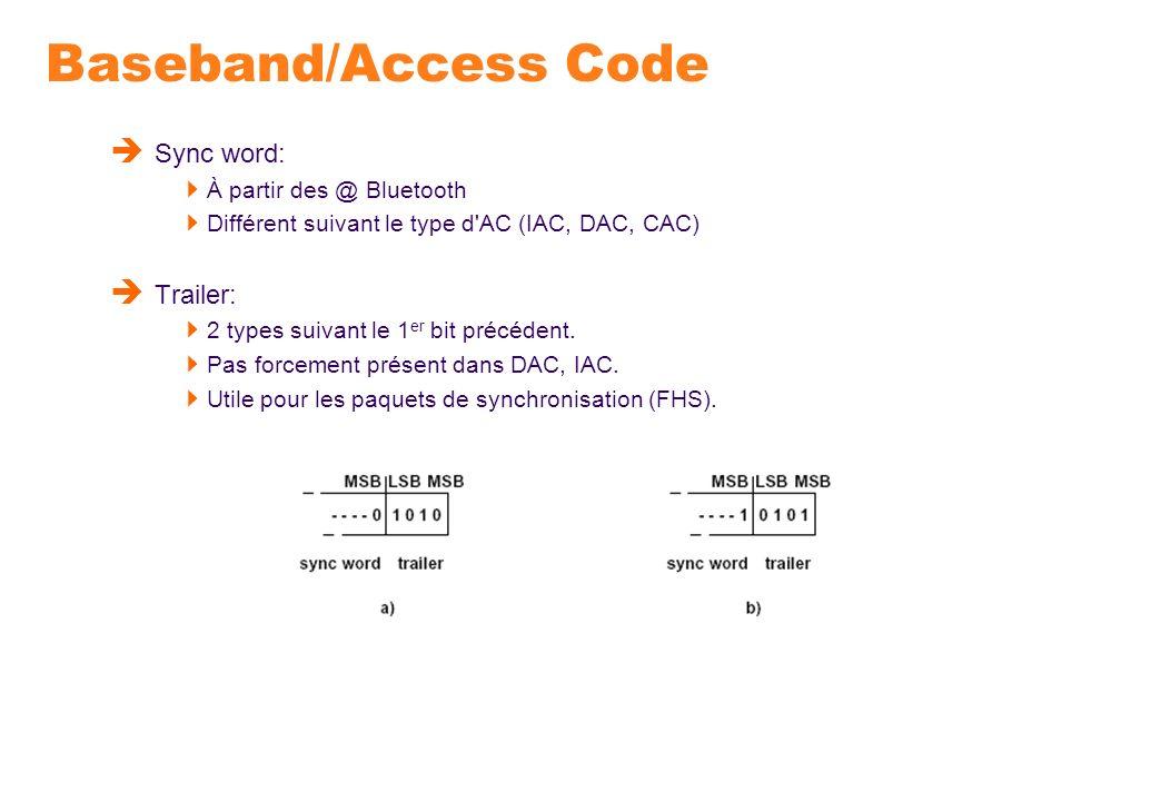 Baseband/Access Code Sync word: À partir des @ Bluetooth Différent suivant le type d'AC (IAC, DAC, CAC) Trailer: 2 types suivant le 1 er bit précédent