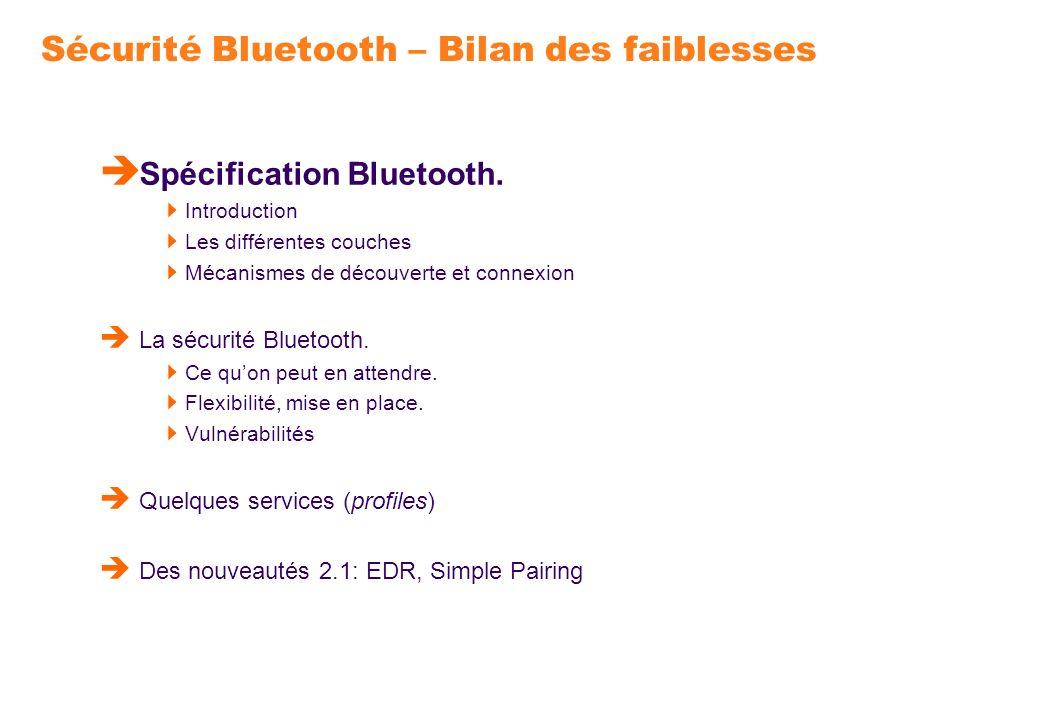 Introduction à Bluetooth Spécification de communications sans fil, courte distance et faible consommation dénergie, destinée à des éléments tels que PDA, téléphones, PC,… Développé à lorigine par Ericsson; création en 1998 du Bluetooth Special Interest Group, avec Ericsson, IBM, Intel, Nokia, Toshiba.