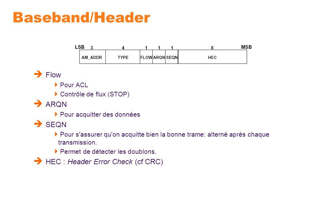 Baseband/Header Flow Pour ACL Contrôle de flux (STOP) ARQN Pour acquitter des données SEQN Pour s'assurer qu'on acquitte bien la bonne trame: alterné