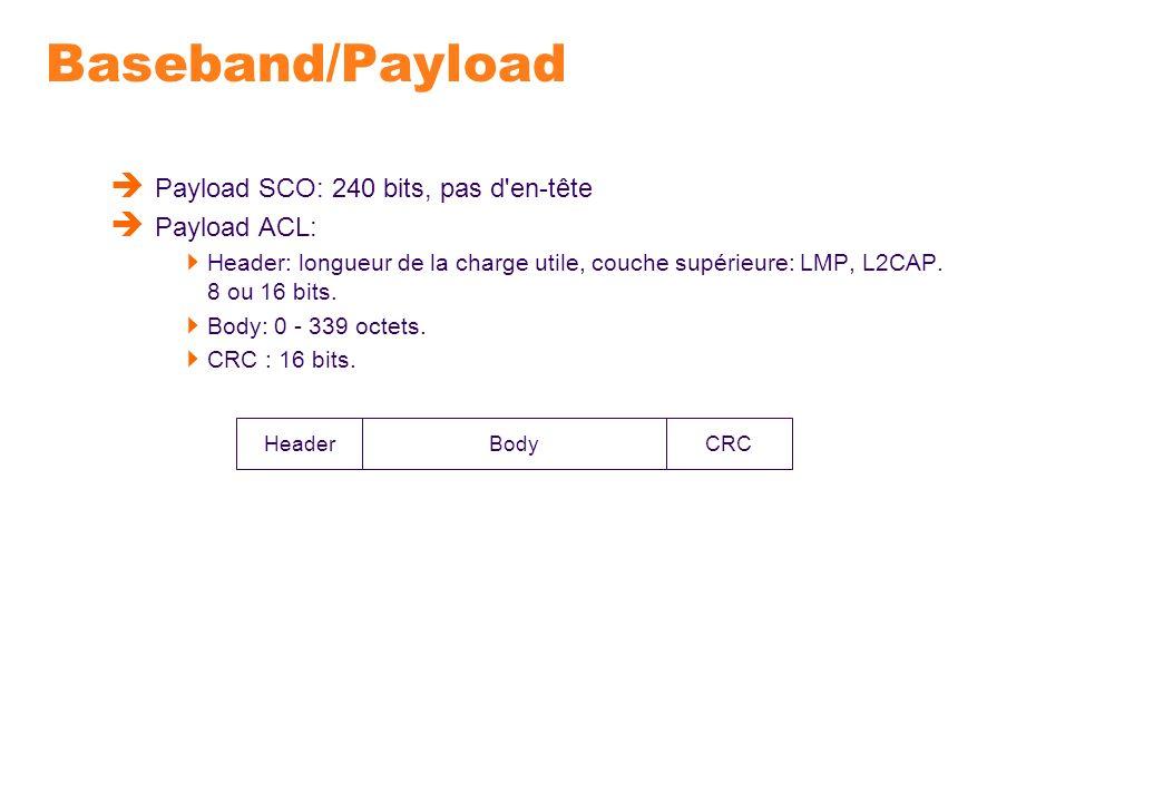 Baseband/Payload Payload SCO: 240 bits, pas d'en-tête Payload ACL: Header: longueur de la charge utile, couche supérieure: LMP, L2CAP. 8 ou 16 bits. B