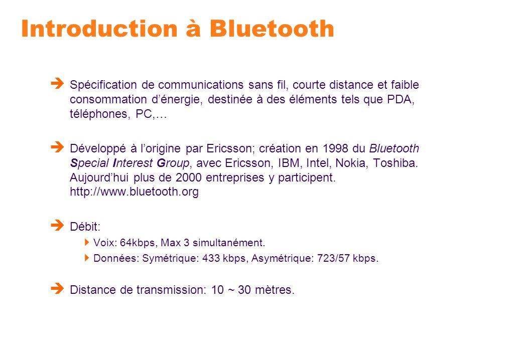 Introduction à Bluetooth Spécification de communications sans fil, courte distance et faible consommation dénergie, destinée à des éléments tels que P
