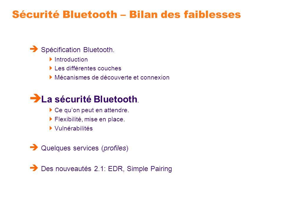 Sécurité Bluetooth – Bilan des faiblesses Spécification Bluetooth. Introduction Les différentes couches Mécanismes de découverte et connexion La sécur