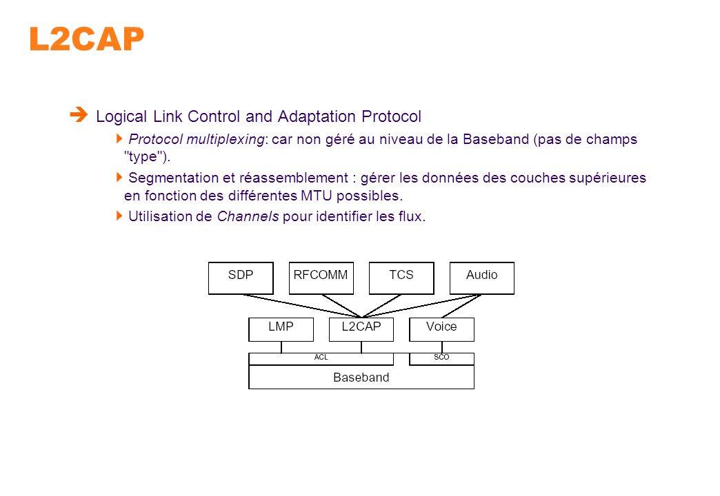 L2CAP Logical Link Control and Adaptation Protocol Protocol multiplexing: car non géré au niveau de la Baseband (pas de champs