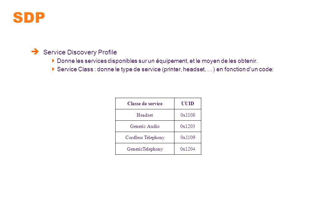 SDP Service Discovery Profile Donne les services disponibles sur un équipement, et le moyen de les obtenir. Service Class : donne le type de service (
